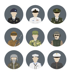 Military avatars set vector image vector image