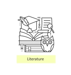 Modern thin line icons literature and education vector image