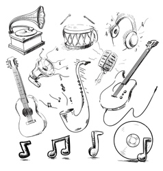 Musical instruments and icons collection vector image vector image