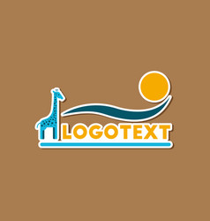 Paper sticker on stylish background giraffe logo vector