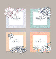 Photo frame with flower vector
