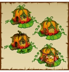 Pumpkin houses where there live gnomes pumpkin vector