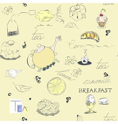 seamless background tea set vector image vector image