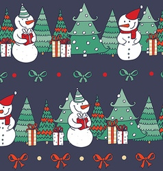 Seamless christmas pattern with hand drawn snowman vector