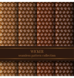 Seamless wicker pattern set vector