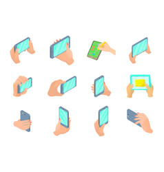 smartphone in hand icon set cartoon style vector image