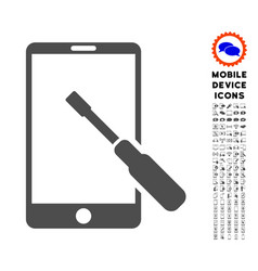 Smartphone tuning screwdriver icon with set vector
