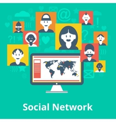 Social network icons composition poster vector