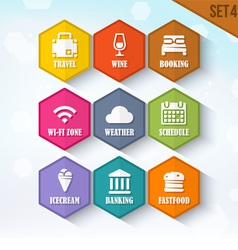 Trendy Rounded Hexagon Icons Set 4 vector image