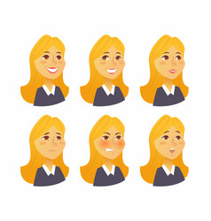 Woman expressions - flat set of images vector