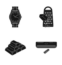 Wrist watch grater and other web icon in black vector