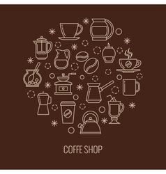 Coffee outline icons in circle design vector