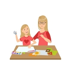 Mother and child doing craft together vector