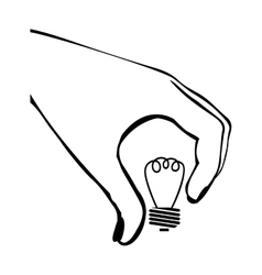 Silhouette hand with light bulb vector