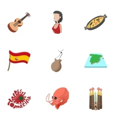 Holiday in spain icons set cartoon style vector
