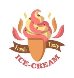 Fresh tasty ice cream logo isolated on white vector