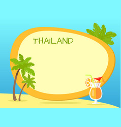 thailand inscription in tag with yellow border vector image