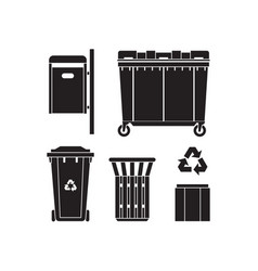 Garbage bins and trashcans icons vector