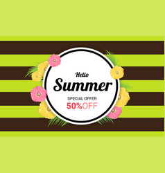 Summer flowers frame or summer floral design on vector