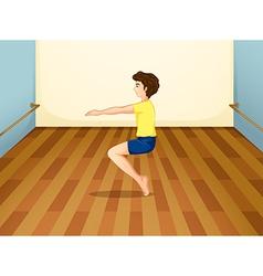 A boy balancing his body vector image