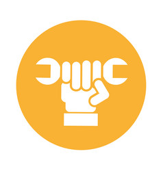Hand with wrench mechanic tool icon vector
