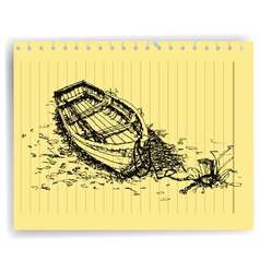 Sketch drawing boat on lined paper page vector
