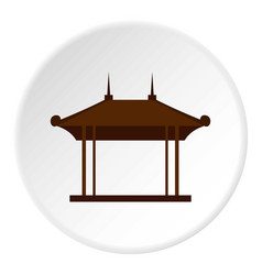 Wooden pavilion icon circle vector