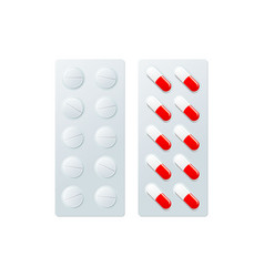 Pills blister flat isolated vector