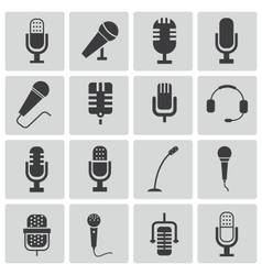 black microphone icons set vector image