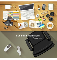Designer desk photographer top view of desk vector
