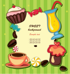 Cupcake and sweets frame vector