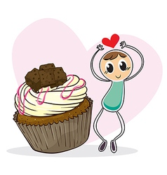 A cupcake and a sketch of a boy with a heart vector image