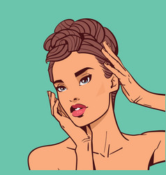 beautiful woman face with elegant hairstyle vector image