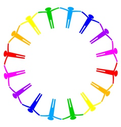 Colorful icon of people in circle vector