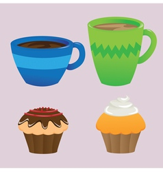 Cups and Cupcakes vector image