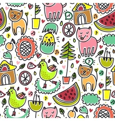 Cute colorful seamless childish pattern vector image