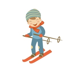 Cute little boy skiing vector image