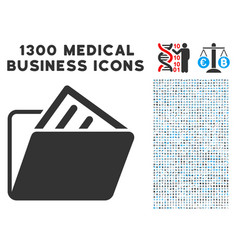 document folder icon with 1300 medical business vector image