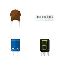 Flat icon electronics set of transistor display vector