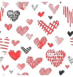 Hand drawn hearts design elements for valentine vector