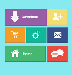 icons colorful buttons on mobile application vector image vector image