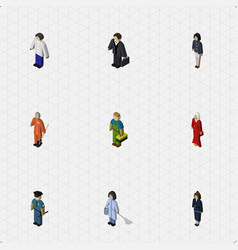 isometric human set of cleaner girl male and vector image