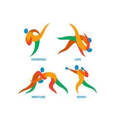 Judo taekwondo boxing wrestiling icon vector