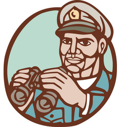 Navy admiral binoculars circle linocut vector
