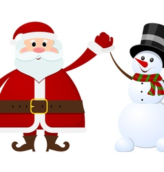 Santa Claus and snowman on a white background vector image