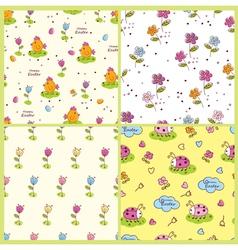 Set of doodle Easter seamless patterns vector image