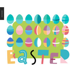 set of painted eggs and easter lettering vector image