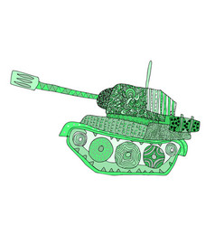 tank doodle fighting war machine army panzer vector image