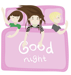 the kids sleep in the bedroom pink vector image vector image
