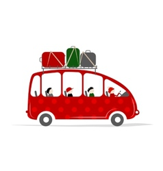 Travel bus with people and luggage on the roof vector image
